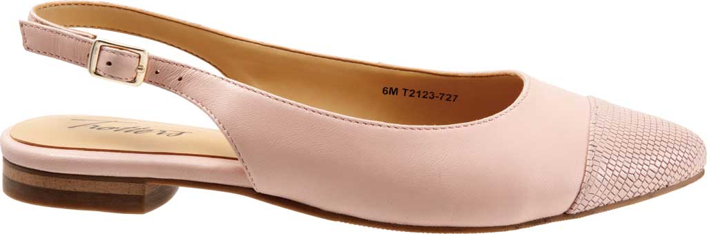 Women's Trotters Halsey Slingback, Light Pink Sheep Soft Leather/Lizard Embossed, large, image 2