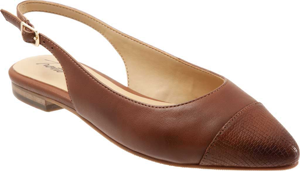 Women's Trotters Halsey Slingback, Luggage Sheep Soft Leather/Lizard Embossed, large, image 1