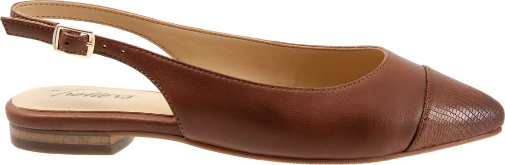 Women's Trotters Halsey Slingback, Luggage Sheep Soft Leather/Lizard Embossed, large, image 2