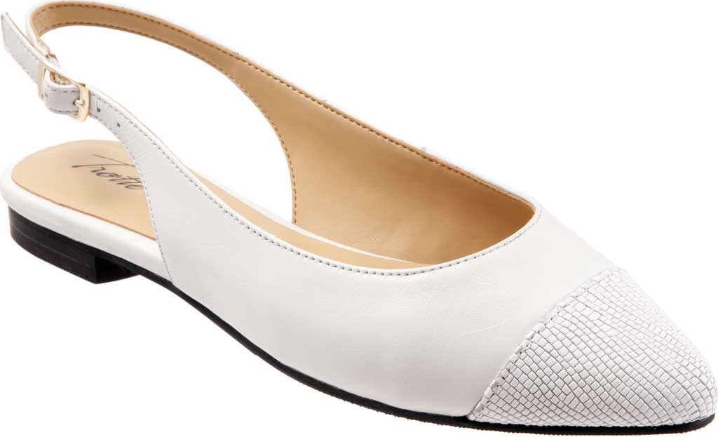 Women's Trotters Halsey Slingback, White Sheep Soft Leather/Lizard Embossed Leather, large, image 1
