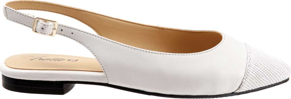 Women's Trotters Halsey Slingback, White Sheep Soft Leather/Lizard Embossed Leather, large, image 2