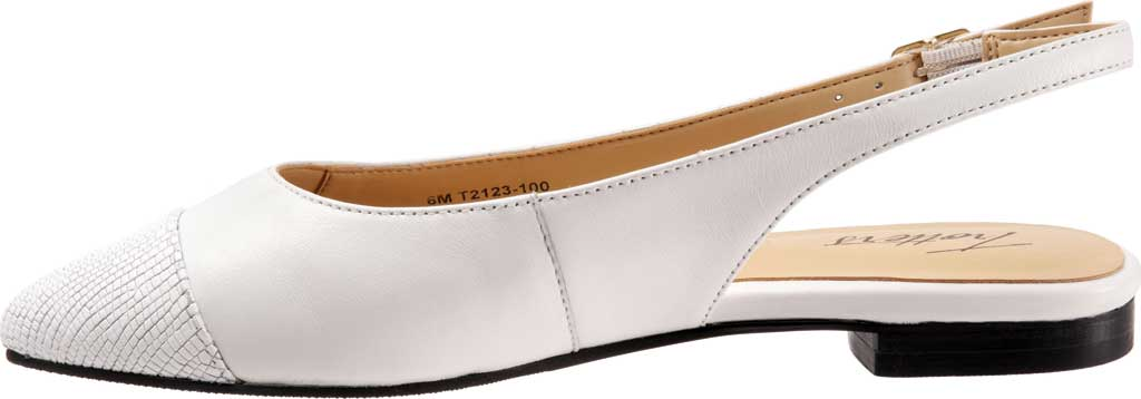 Women's Trotters Halsey Slingback, White Sheep Soft Leather/Lizard Embossed Leather, large, image 3