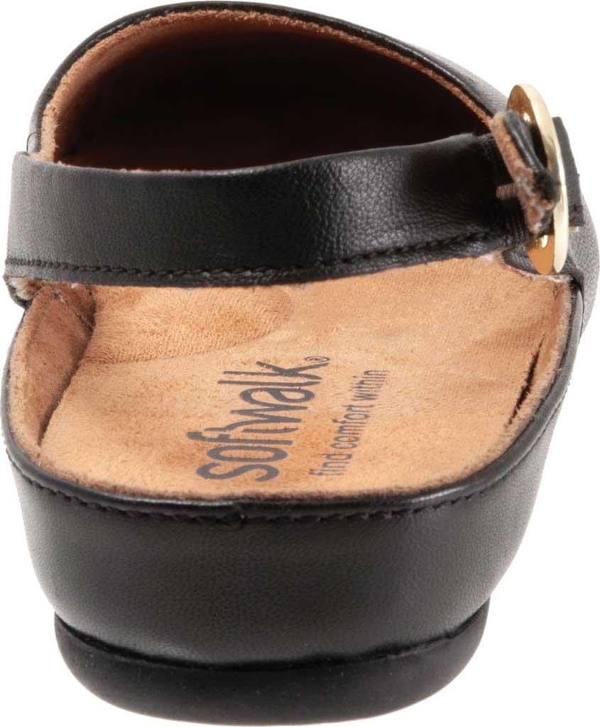 Women's SoftWalk Sandy Slingback, Black Leather, large, image 4