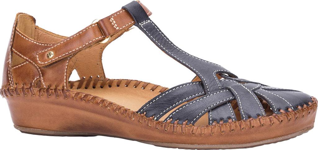Women's Pikolinos Puerto Vallarta Closed Toe Sandal 655-0732, Navy Blue/Brandy Leather, large, image 1