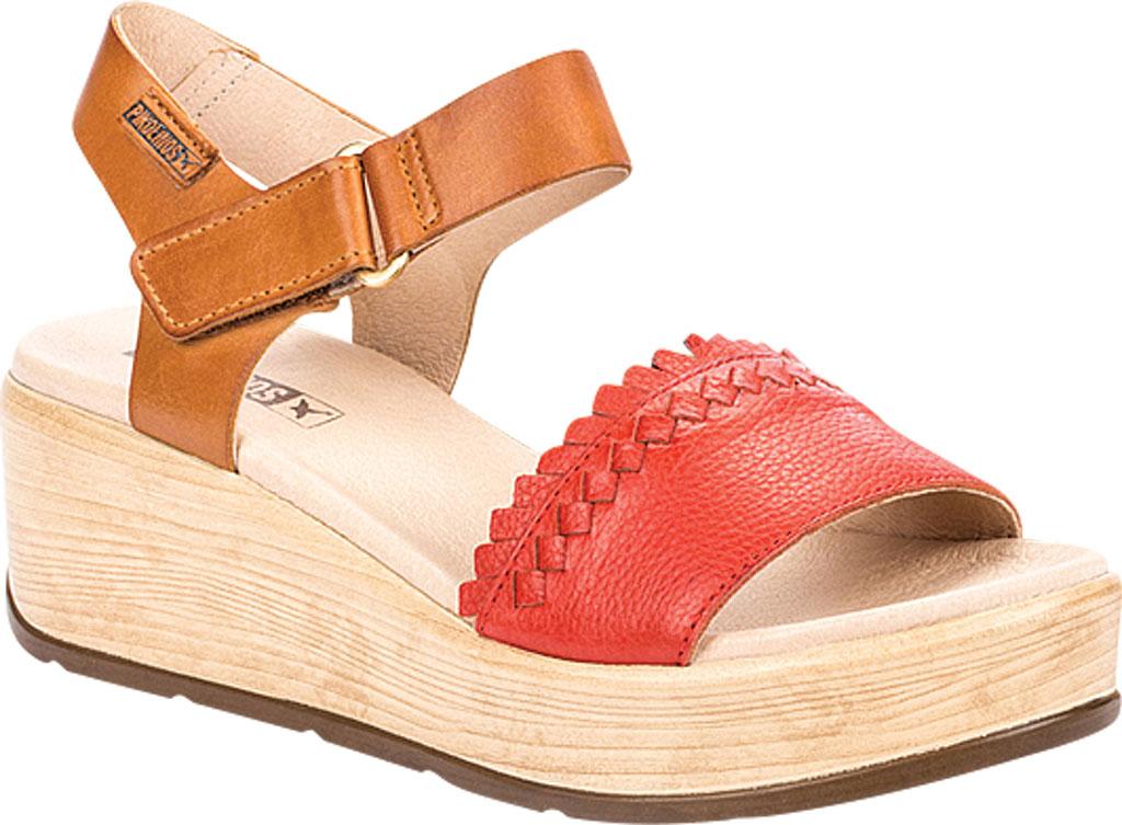 Women's Pikolinos Costacabana Platform Sandal W3X-1747BGC1, Coral Leather, large, image 1