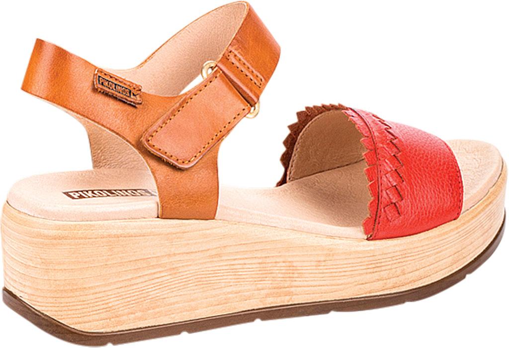 Women's Pikolinos Costacabana Platform Sandal W3X-1747BGC1, Coral Leather, large, image 3