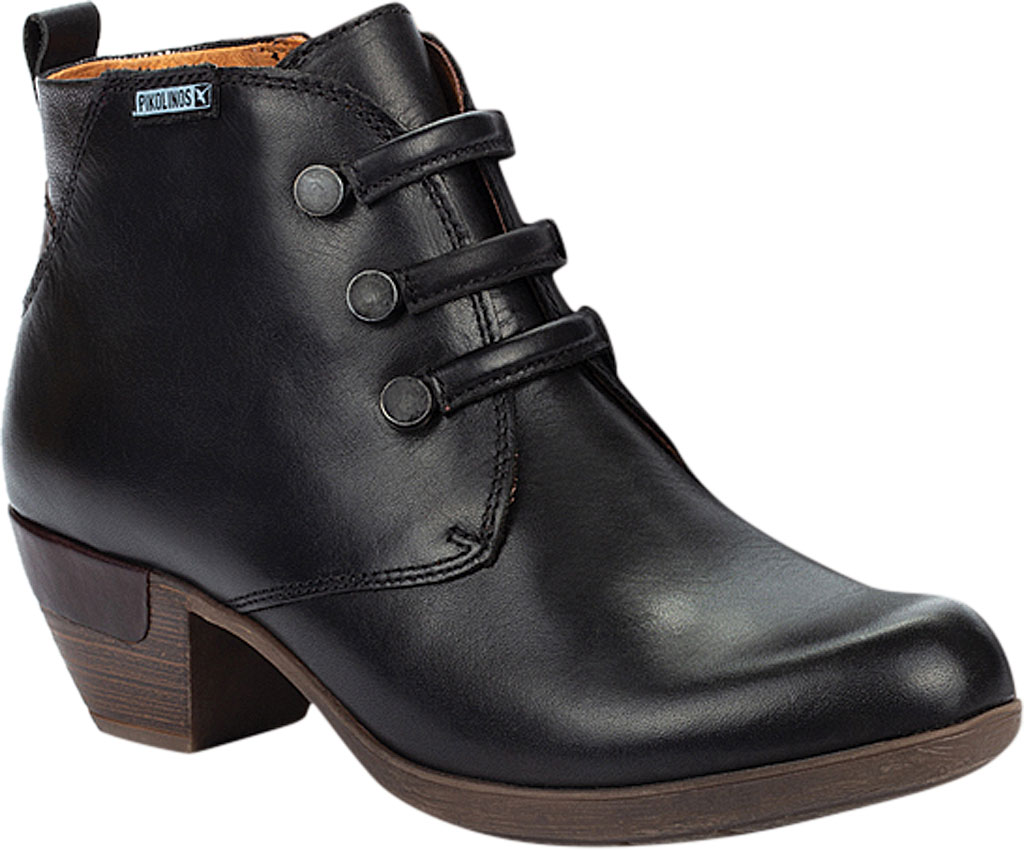 Women's Pikolinos Rotterdam Ankle Bootie 902-8746, Black Calfskin Leather, large, image 1