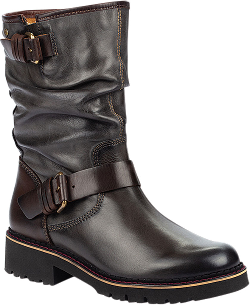 Women's Pikolinos Vicar Mid Calf Slouch Boot W0V-9666, Lead Calfskin Leather, large, image 1
