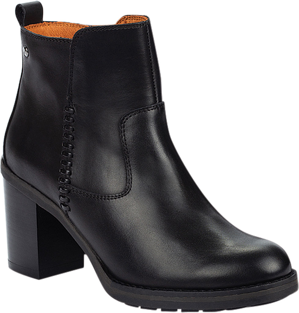 Women's Pikolinos Pompeya Ankle Bootie W9T-8594, Black Calfskin Leather, large, image 1