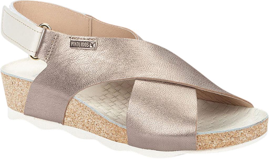 Women's Pikolinos Mahon Wedge Slingback Sandal W9E-0912, Stone Metallic Calfskin, large, image 1