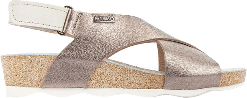 Women's Pikolinos Mahon Wedge Slingback Sandal W9E-0912, Stone Metallic Calfskin, large, image 2