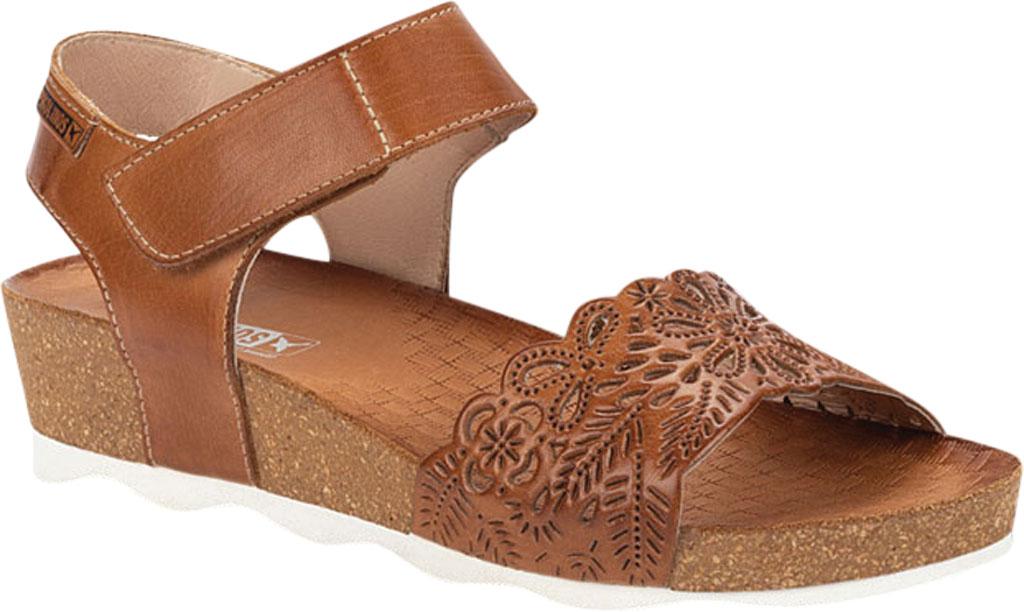 Women's Pikolinos Mahon Perforated Wedge Sandal W9E-0910, Brandy Calfskin, large, image 1