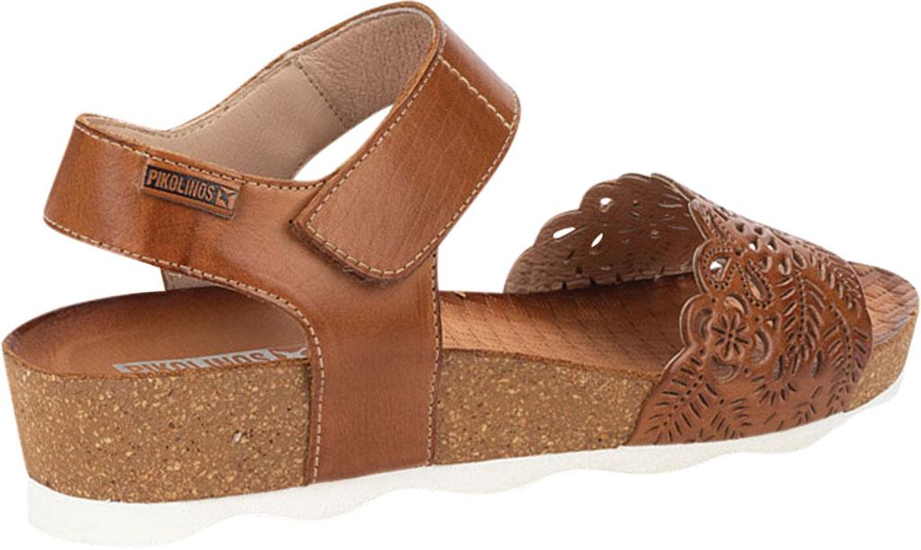 Women's Pikolinos Mahon Perforated Wedge Sandal W9E-0910, Brandy Calfskin, large, image 3