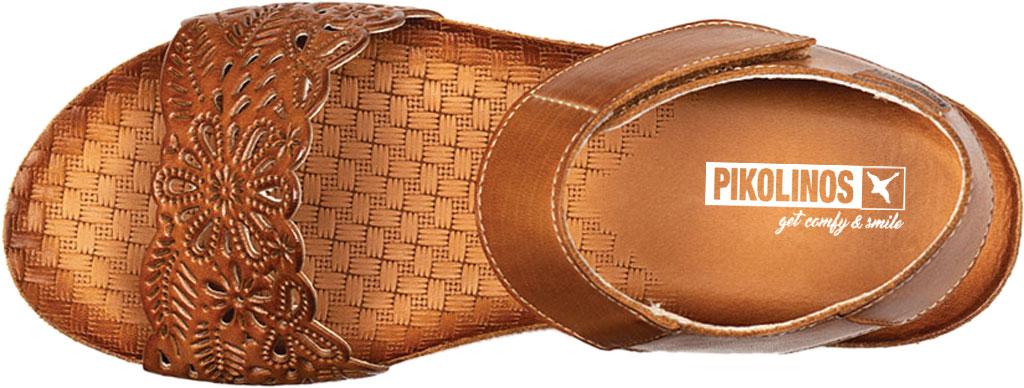 Women's Pikolinos Mahon Perforated Wedge Sandal W9E-0910, Brandy Calfskin, large, image 4