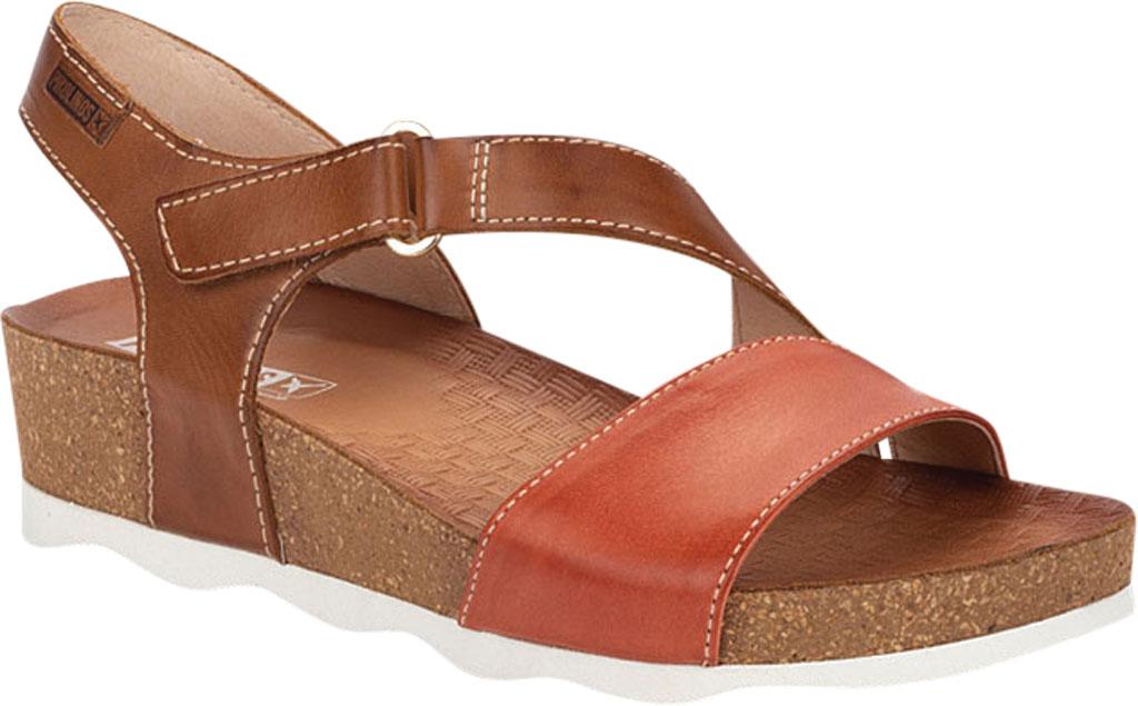 Women's Pikolinos Mahon Wedge Sandal W9E-0833C1, Scarlet Calfskin, large, image 1