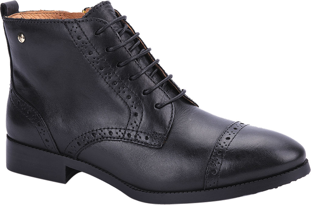 Women's Pikolinos Royal Cap Toe Ankle Boot W4D-8717, Black Calfskin Leather, large, image 1