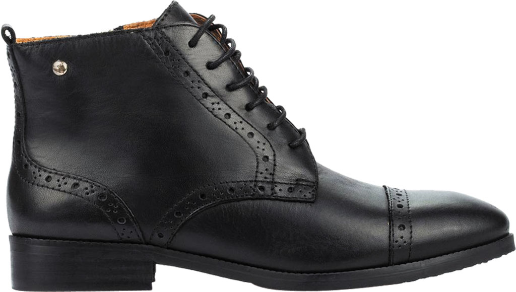 Women's Pikolinos Royal Cap Toe Ankle Boot W4D-8717, Black Calfskin Leather, large, image 2