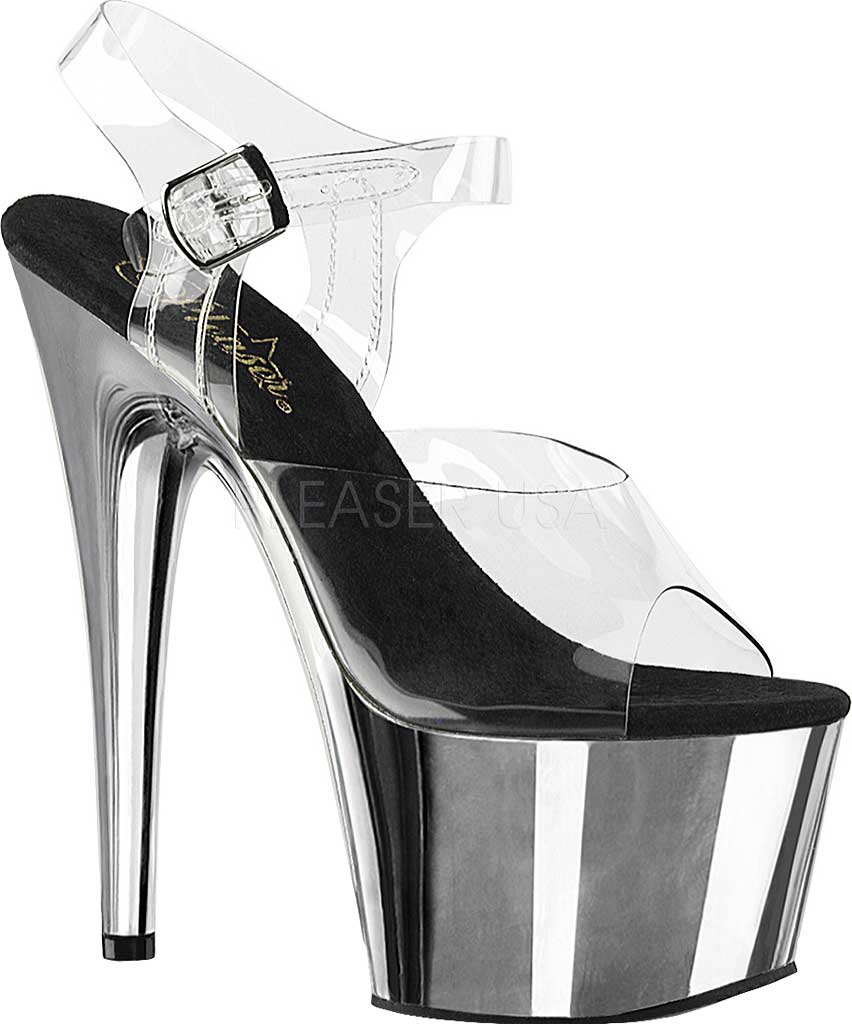 Women's Pleaser Adore 708, Clear/Silver Chrome, large, image 1