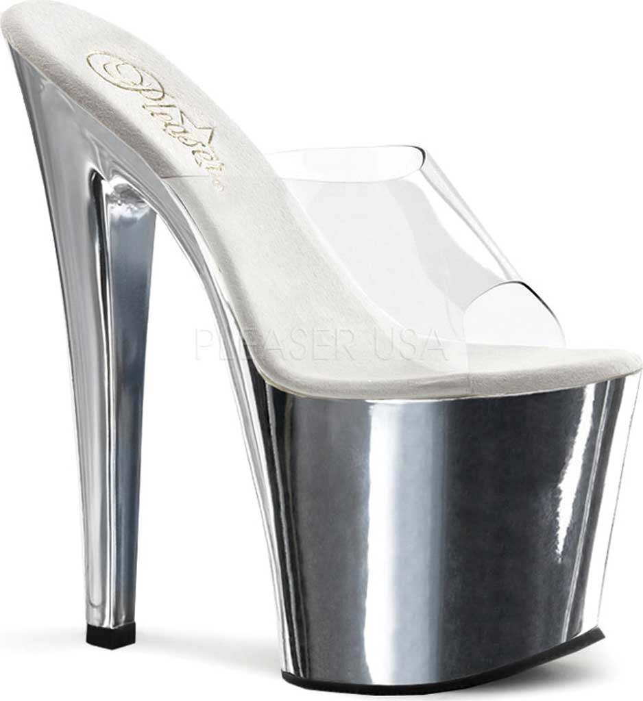 Women's Pleaser Taboo 701, Clear/Silver Chrome, large, image 1