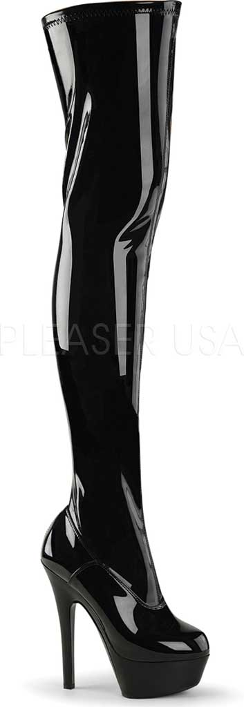 Women's Pleaser Kiss 3000 Thigh-High Boot, Black Stretch Patent/Black, large, image 1