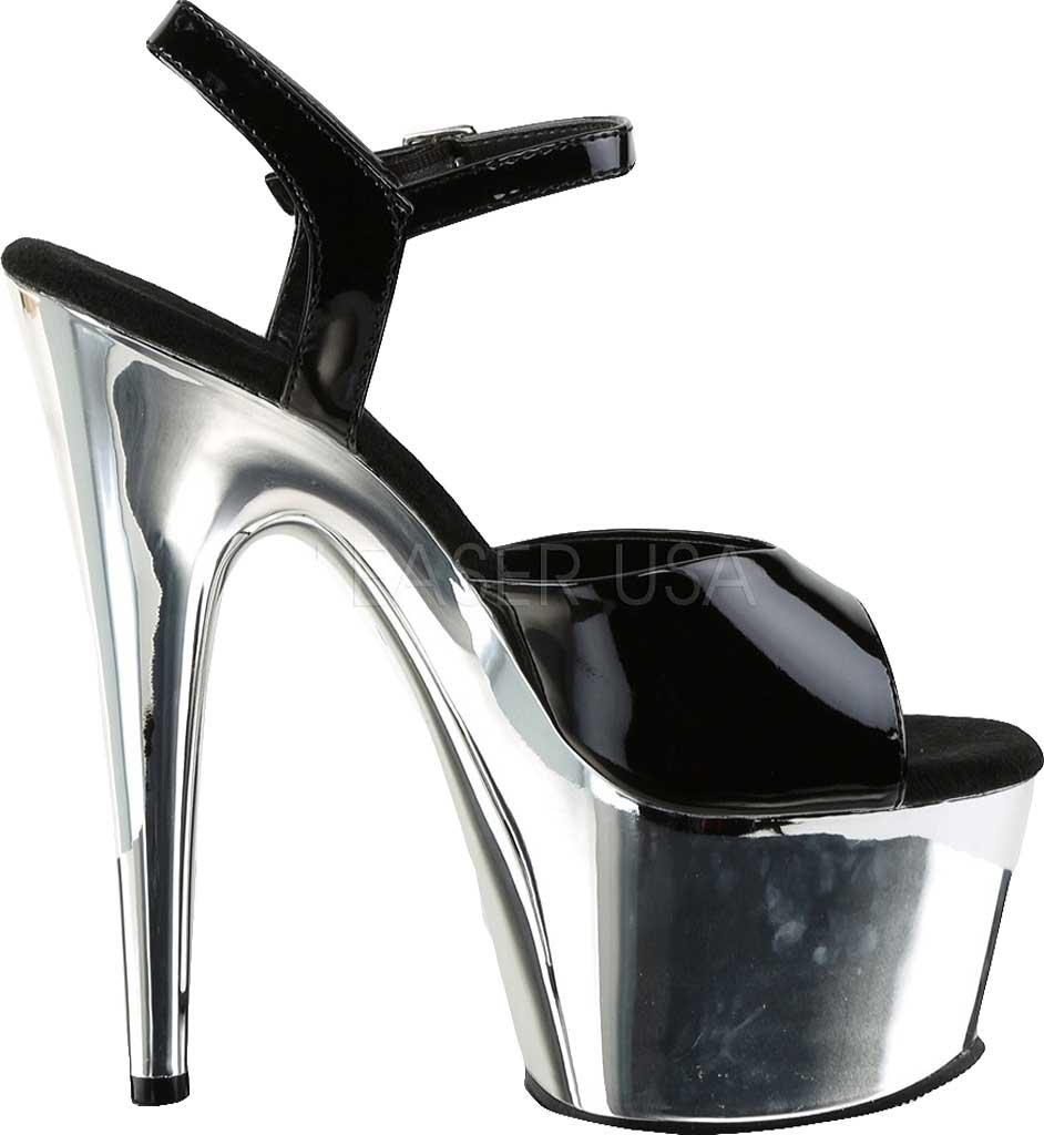 Silver Chrome Stilletto Platform Heel Sandals Pleaser Adore-709 Black Patent