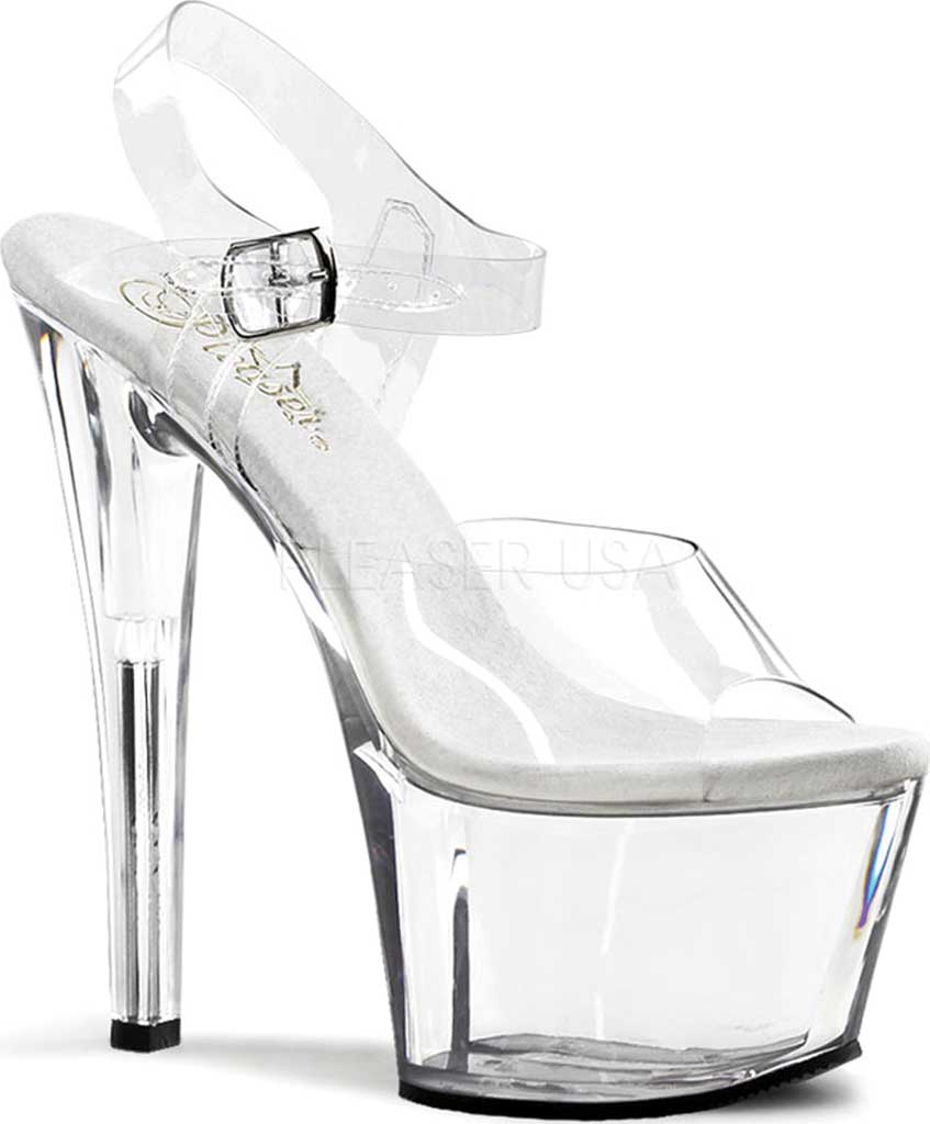 Women's Pleaser Sky 308, Clear/Clear, large, image 1