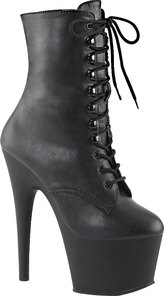 Women's Pleaser Adore 1020 Ankle Boot, Black Faux Leather/Black Matte PU, large, image 1