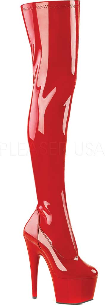 Women's Pleaser Adore 3000, Red Stretch Patent/Red, large, image 1