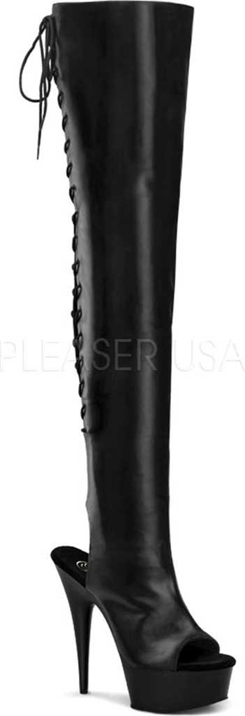 Women's Pleaser Delight 3017, Black Stretch PU/Black, large, image 1