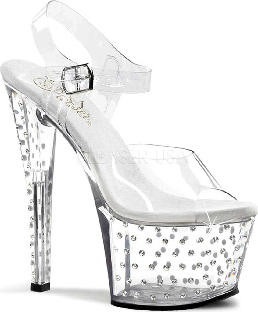 Women's Pleaser Stardust 708, Clear/Clear, large, image 1