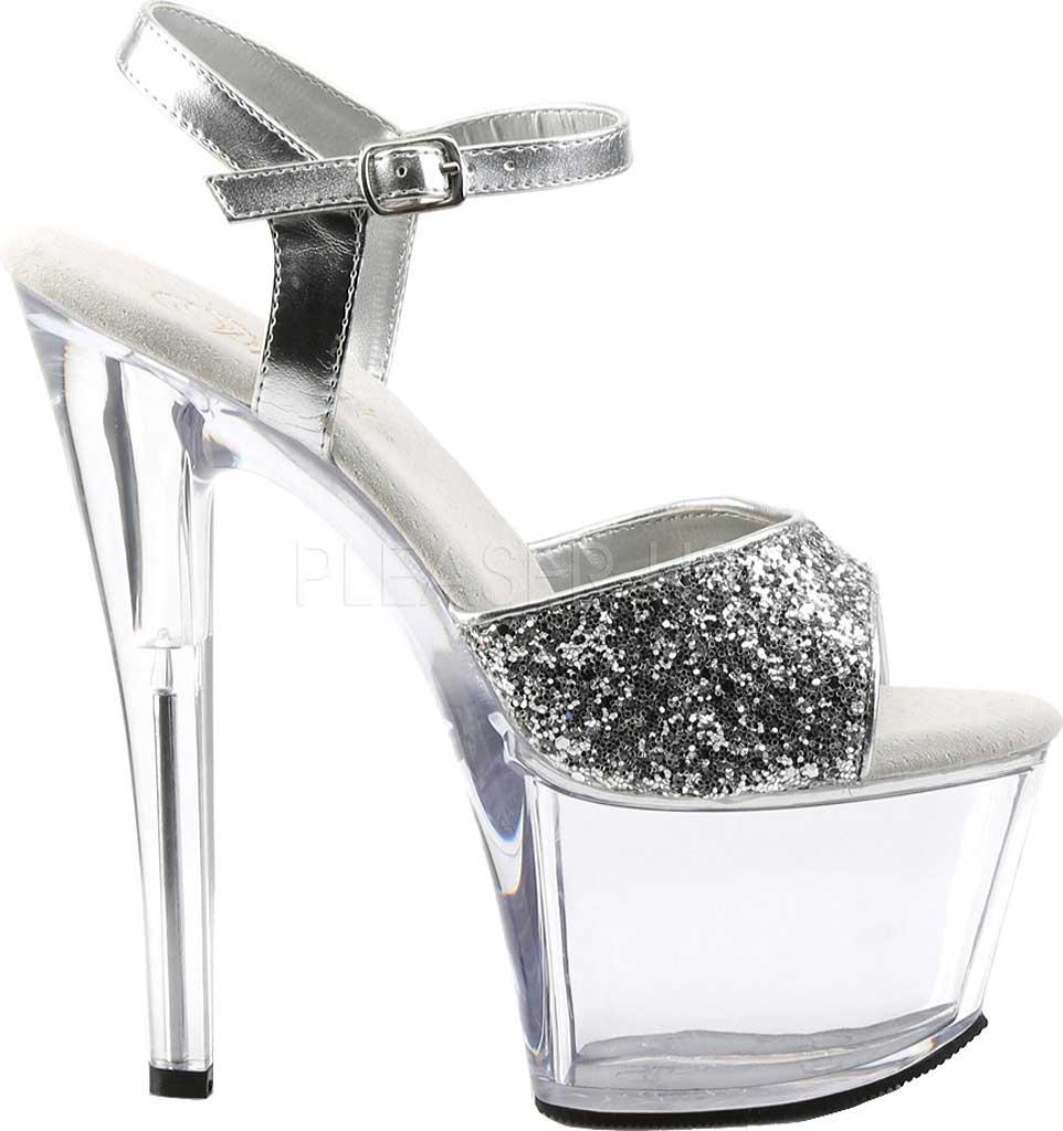Women's Pleaser Sky 310, Silver Glitter/Clear, large, image 2