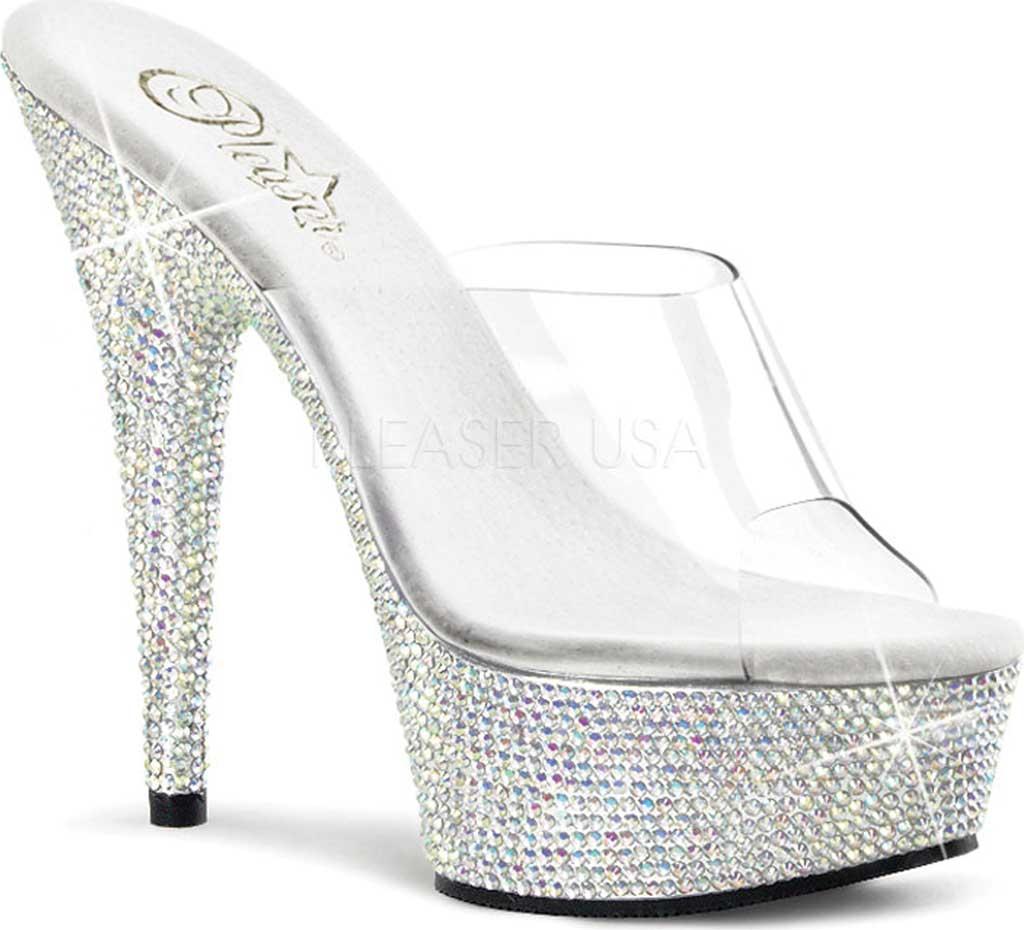 Women's Pleaser Bejeweled 601DM, Clear/Silver Multi Rhinestones, large, image 1