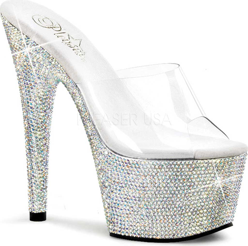 Women's Pleaser Bejeweled 701DM, Clear/Silver Multi Rhinestones, large, image 1