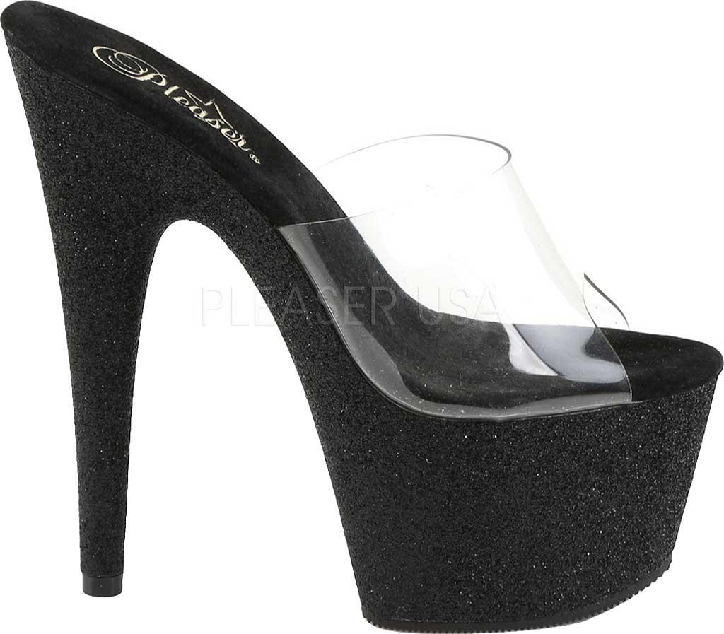 Women's Pleaser Adore 701SDG, Clear/Black Glitter, large, image 2