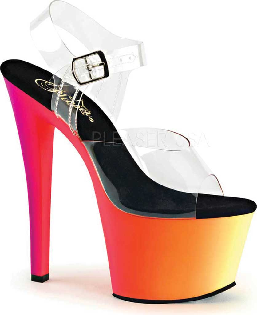 Women's Pleaser Rainbow 308UV Ankle Strap, Clear/Neon Multi, large, image 1