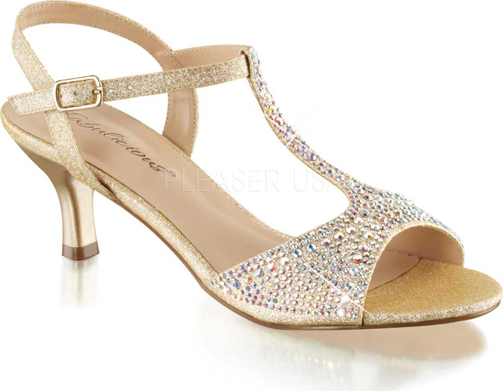 Women's Fabulicious Audrey 05 T-Strap Sandal, Nude Shimmering Fabric, large, image 1