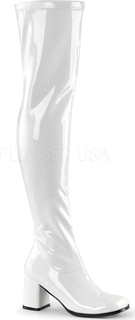 Women's Funtasma Gogo 3000 Thigh High Boot, White Stretch Patent, large, image 1