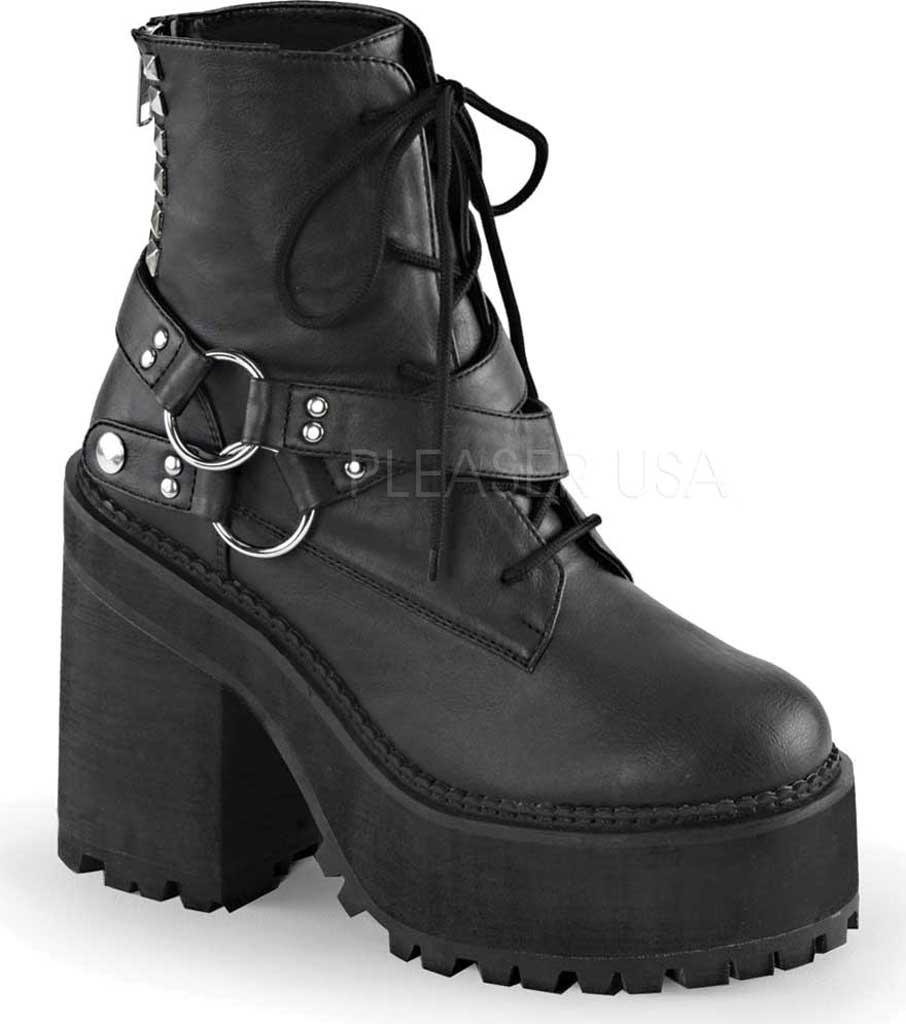 Women's Demonia Assault 101 Ankle Boot, Black Vegan Leather, large, image 1