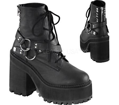 Women's Demonia Assault 101 Ankle Boot, Black Vegan Leather, large, image 2
