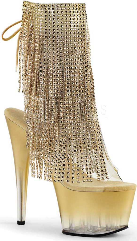 Women's Pleaser Adore 1017RSFT Ankle Boot, Clear PVC-Gold/Gold, large, image 1