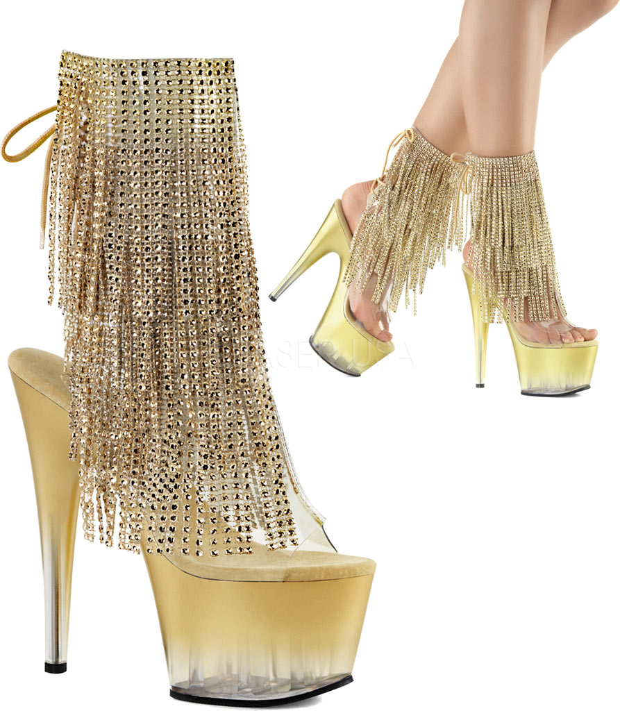 Women's Pleaser Adore 1017RSFT Ankle Boot, Clear PVC-Gold/Gold, large, image 3