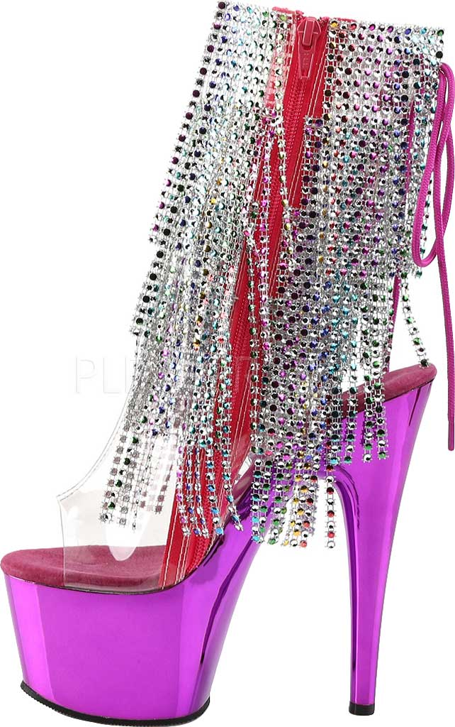 Women's Pleaser Adore 1017RSF Ankle Boot, Clear PVC/Multi/Fuchsia Chrome, large, image 3