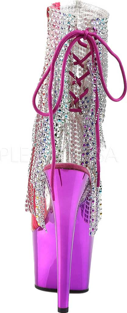Women's Pleaser Adore 1017RSF Ankle Boot, Clear PVC/Multi/Fuchsia Chrome, large, image 4