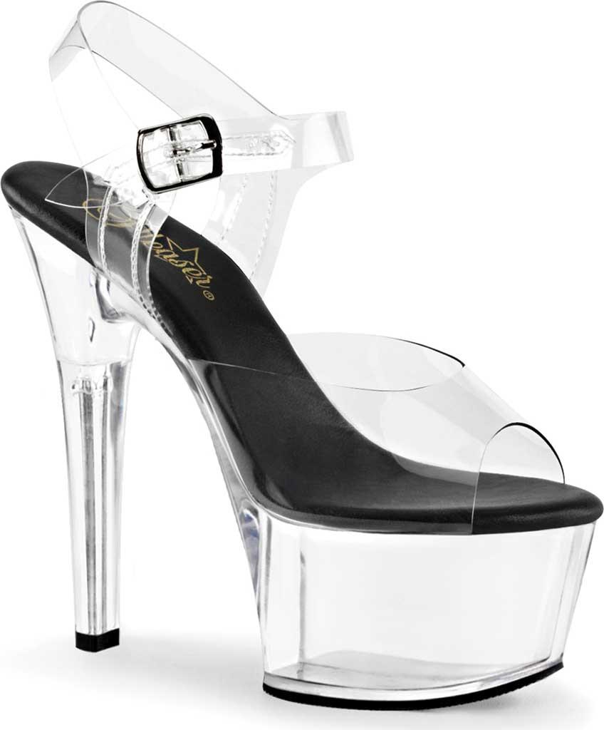 Women's Pleaser Aspire 608 Ankle-Strap Sandal, Clear PVC/Black/Clear, large, image 1