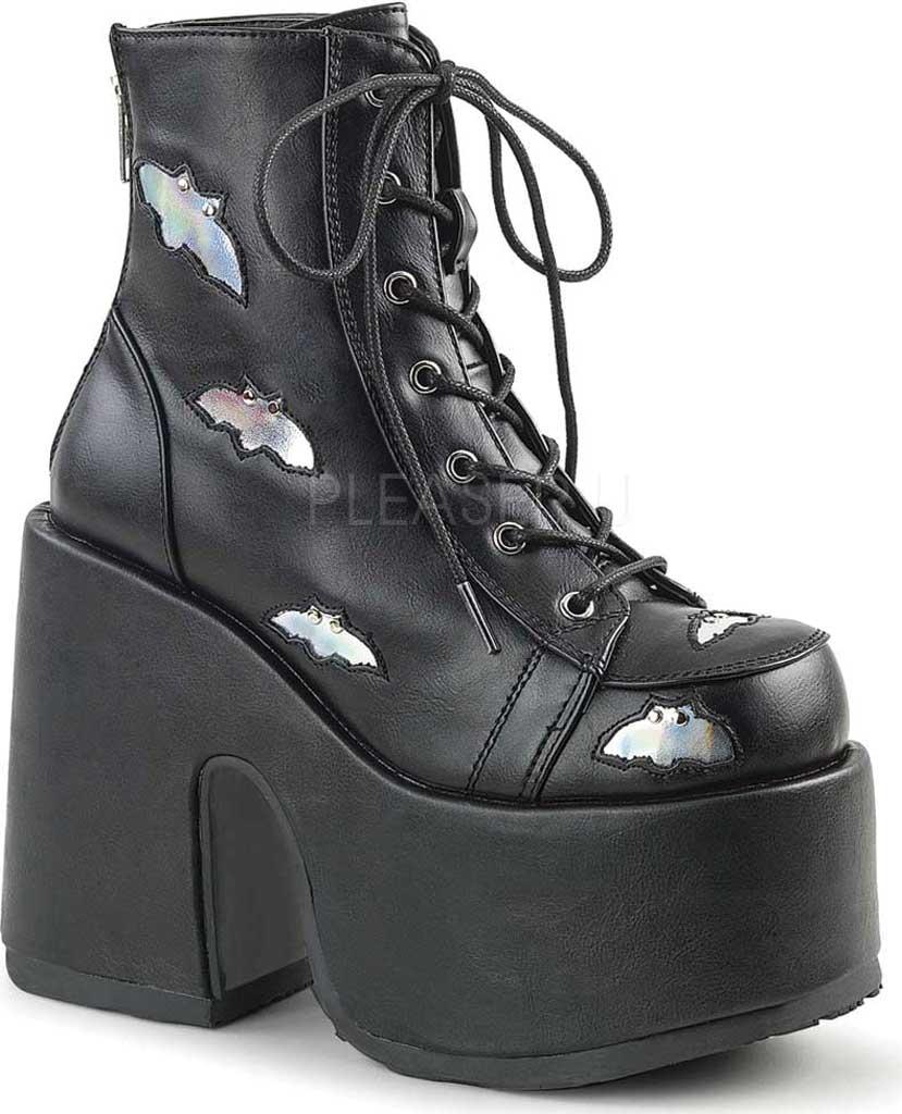 Women's Demonia Camel 201 Platform Ankle Bootie, Black/Silver Hologram Vegan Leather, large, image 1