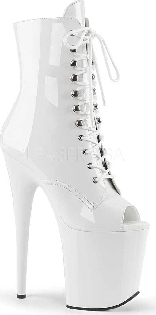 Women's Pleaser Flamingo-1021 Lace Up Open Toe Boot, White Patent/White, large, image 1