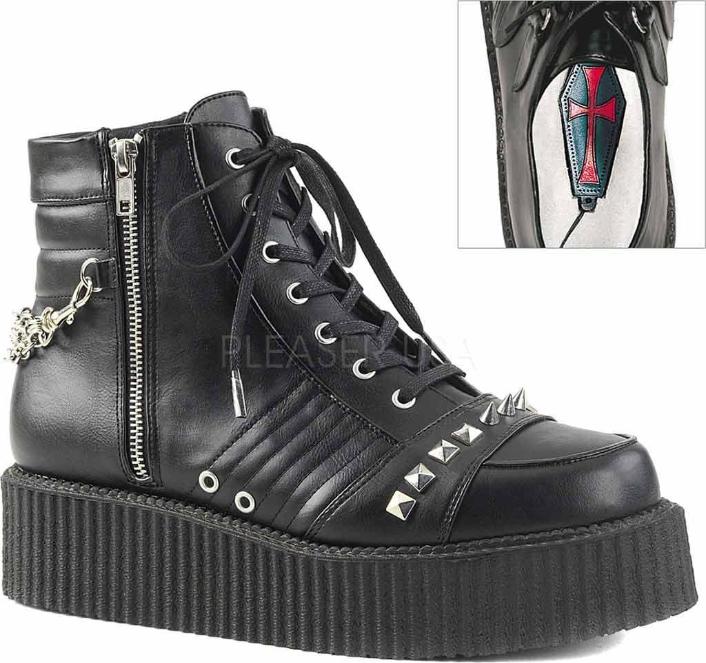 V-CREEPER-565 Demonia Unisex Stiefeletten Booties schwarz Nieten Spikes Ketten