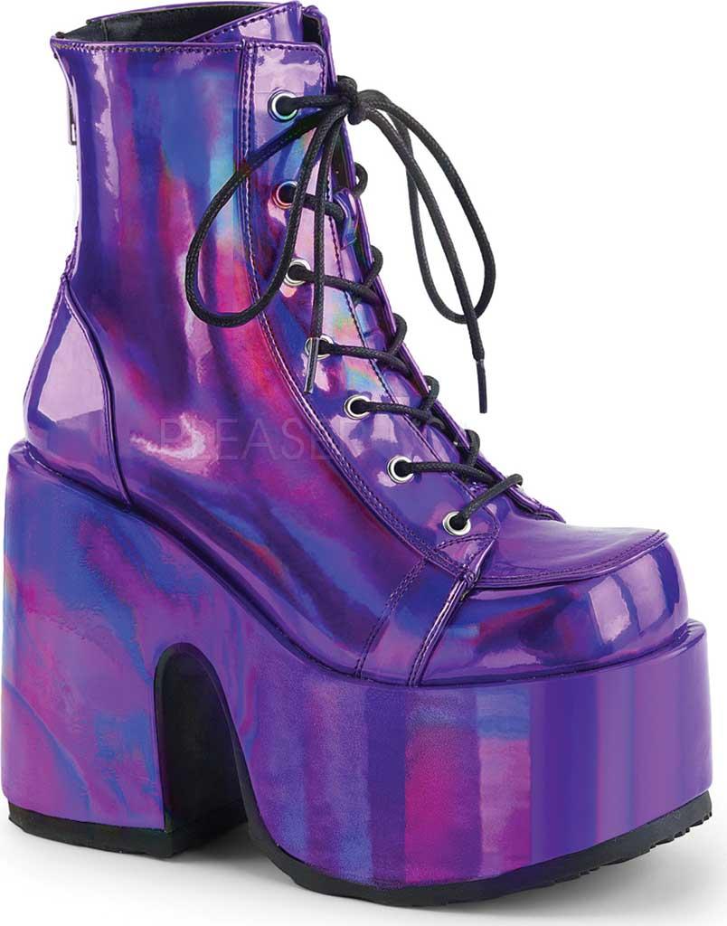Women's Demonia Camel 203 Ankle Boot, Purple Hologram Vegan Leather, large, image 1