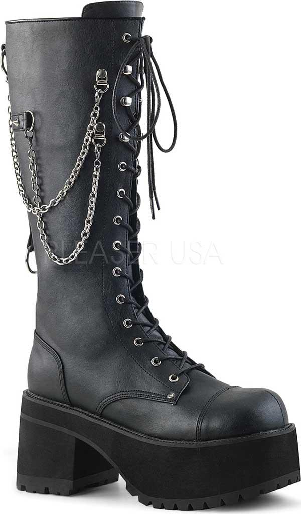 Men's Demonia Ranger 303 Platform Lace-Up Boot, Black Faux Leather, large, image 1