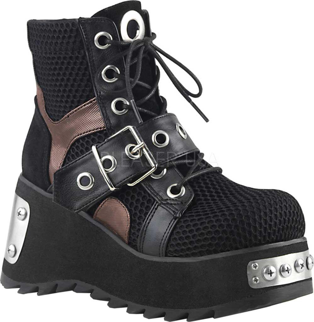 Women's Demonia Scene 53 Ankle Boot, Black Vegan Leather/Fishnet Textile, large, image 1